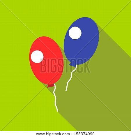 Red and blue balloons icon. Flat illustration of red and blue balloons vector icon for web isolated on green background