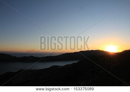 Sunset on the Island of the Sun, Titicaca Lake, among the most scenic travel destination in Bolivia.