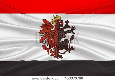 Flag of Kuyavian-Pomeranian Voivodeship or Kujawy-Pomerania Province in Poland. 3d illustration