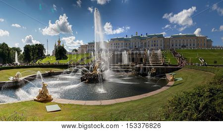 Fountains of Petergof and palace, Saint Petersburg, Russia