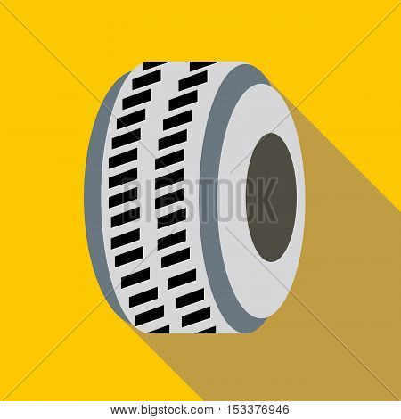 Car wheel icon. Flat illustration of car wheel vector icon for web isolated on yellow background
