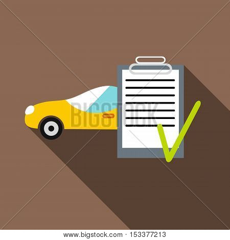 Car and car Insurance form icon. Flat illustration of car and car Insurance form vector icon for web isolated on coffee background
