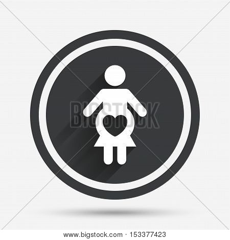 Pregnant sign icon. Women Pregnancy symbol. Circle flat button with shadow and border. Vector