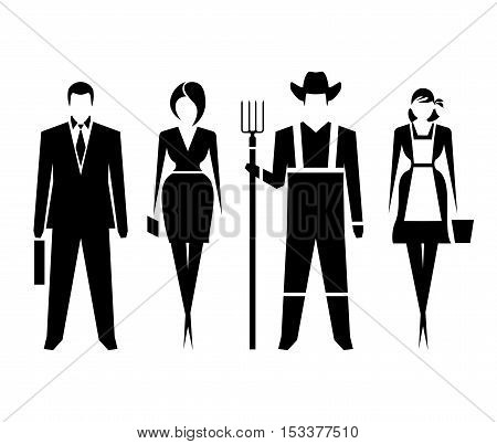Man, woman as well as farmers. Vector symbols