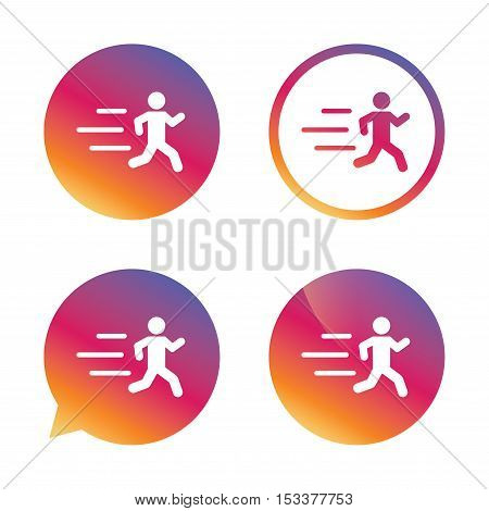 Running sign icon. Human sport symbol. Gradient buttons with flat icon. Speech bubble sign. Vector