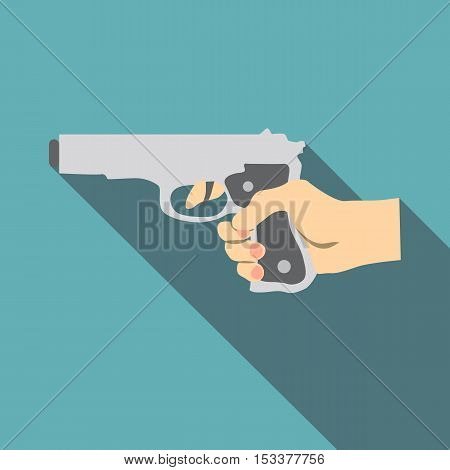 Hand with gun icon. Flat illustration of hand with gun vector icon for web isolated on baby blue background