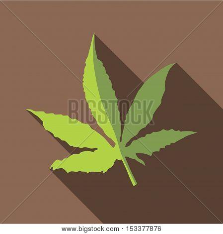 Marijuana leaf icon. Flat illustration of marijuana leaf vector icon for web isolated on coffee background