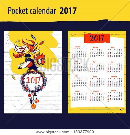 Calendar For Year 2017 With Vector Silhouette Cock And Christmas