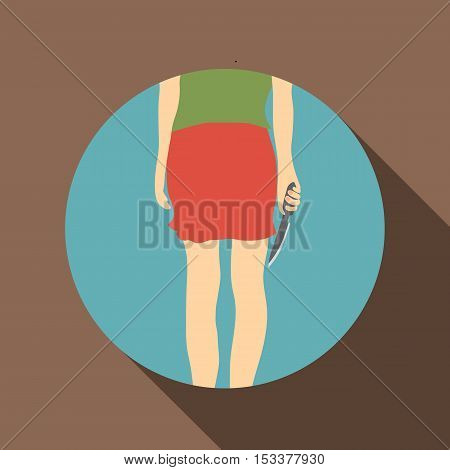 Woman with knife icon. Flat illustration of woman with knife vector icon for web isolated on coffee background