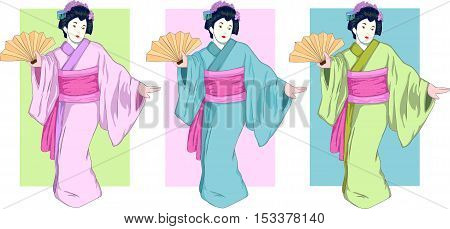set with three geisha in colored kimono. Vector illustration