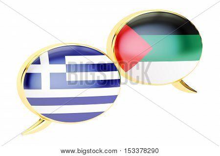Speech bubbles Greek-Arabian translation concept. 3D rendering