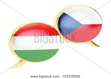 Speech bubbles Hungarian-Czech translation concept. 3D rendering
