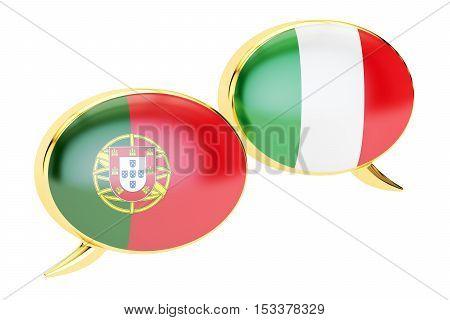 Speech bubbles Italian-Portuguese conversation concept. 3D rendering