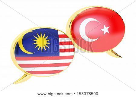 Speech bubbles Turkish-Malaysian conversation concept. 3D rendering