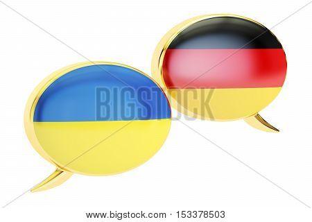 Speech bubbles Ukrainian-German translation concept. 3D rendering