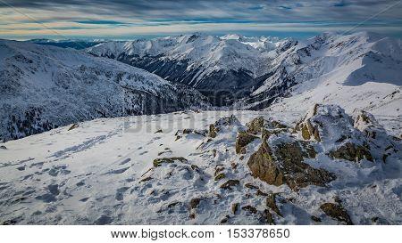 Ridge Of Mountains In Tatra Mountains In Winter, Poland