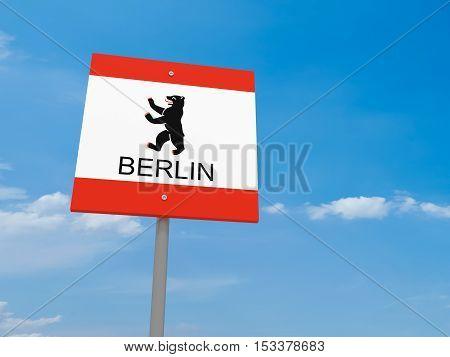 Berlin Bear Flag Road Sign Against A Cloudy Sky 3d illustration