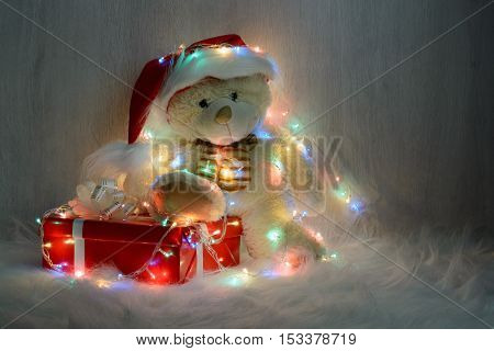 Teddy Bear In Santa Hat With Gifts