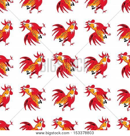 Seamless Pattern With Silhouette Cock. Illustration Of Vector El