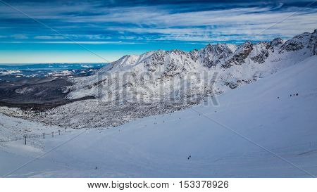 Panorama Of Gasienicowa Valley From The Top Of Kasprowy Wierch In Winter, Poland