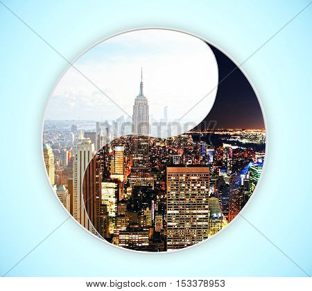Ying yang night and day time city on blue background