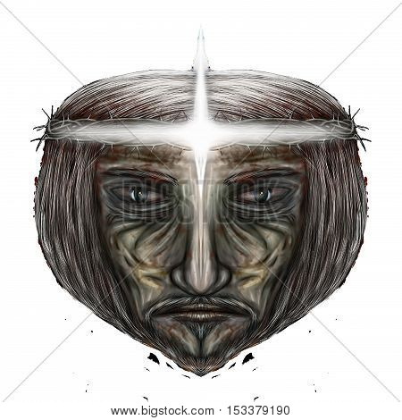 Extraterrestrial - Jesus, draw by hand mirror image