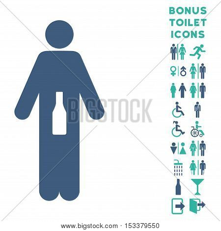 WC Man icon and bonus man and female lavatory symbols. Vector illustration style is flat iconic bicolor symbols, cobalt and cyan colors, white background.