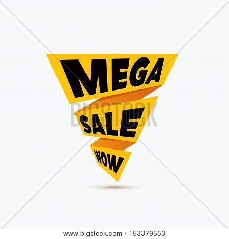 Mega sale design template. Creative banner. Vector ribbon yellow illustration, marketing price tag, discount, advertising. Abstract vector illustration for shopping.