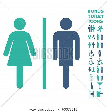 WC Persons icon and bonus man and female lavatory symbols. Vector illustration style is flat iconic bicolor symbols, cobalt and cyan colors, white background.