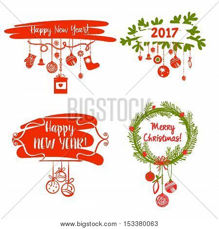 Illustration For Merry Christmas And Happy New Year 2017 . Set D
