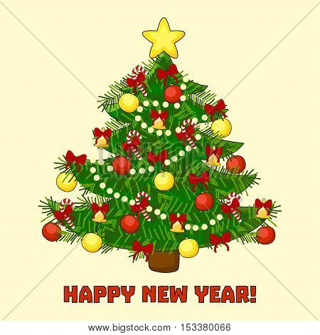 Christmascard with tree and Happy New Year text. Vector illustration.