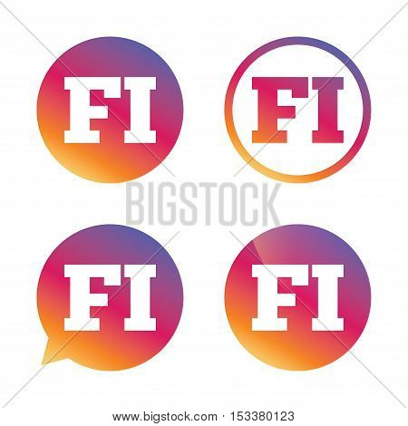 Finnish language sign icon. FI Finland translation symbol. Gradient buttons with flat icon. Speech bubble sign. Vector