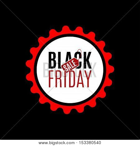 Black Friday sale design template. Creative red banner. Vector illustration, marketing price tag, discount, advertising. Abstract vector illustration for shopping.