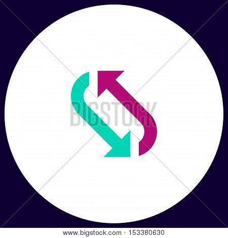 rotation Simple vector button. Illustration symbol. Color flat icon