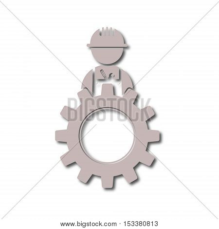 Under construction illustration gear design icon on white background