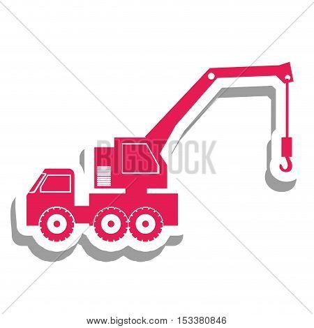 pink crane truck pictogram icon image vector illustration design