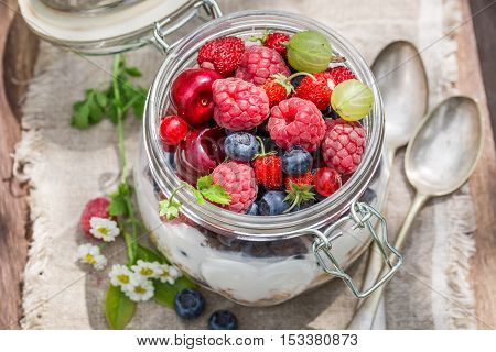 Berry Fruits And Yogurt With Granola In Sunny Day