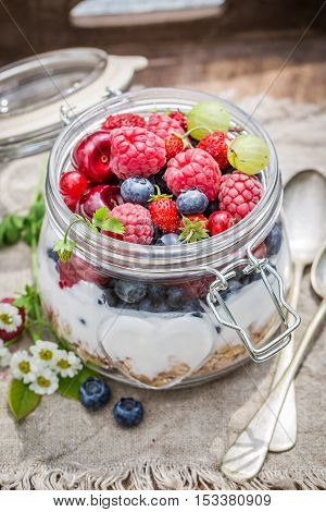 Muesli With Flowers And Fruits In Garden