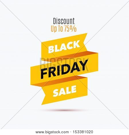 Black Friday sale design template. Creative yellow ribbon banner. Vector illustration, marketing price tag, discount, advertising. Abstract vector illustration for shopping.