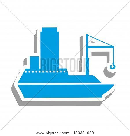 blue cargo ship icon pictogram image vector illustration design