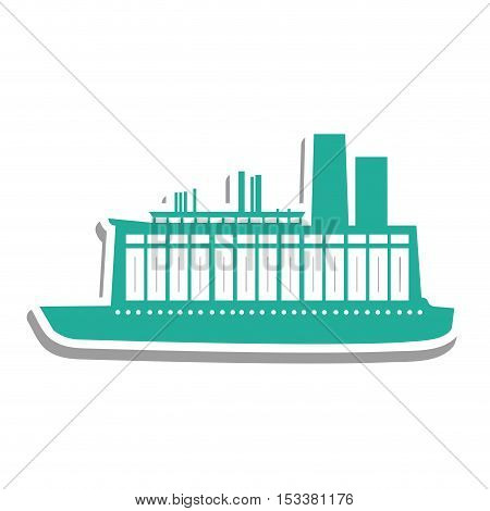 blue boat or ship pictogram icon image vector illustration