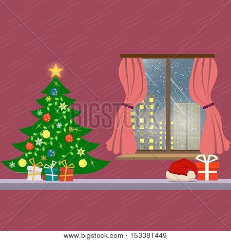 Christmas interior with gift and pine tree, window seat