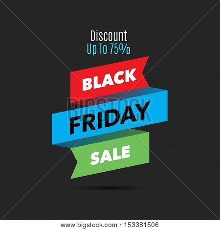 Black Friday sale design template. Creative banner. Vector ribbon colorful illustration, marketing price tag, discount, advertising. Abstract vector illustration for shopping.