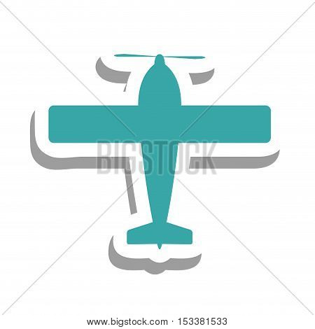 blue airplane isolated pictogram image vector illustration design