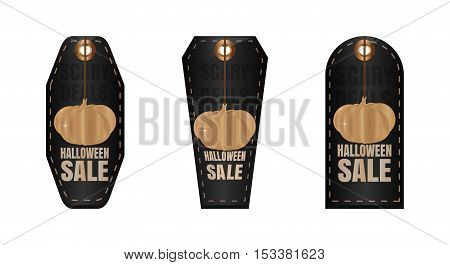 Halloween sale. Set of black labels in the form of gravestones with golden pumpkin keychain. Scary Deals. Black tag price for Halloween