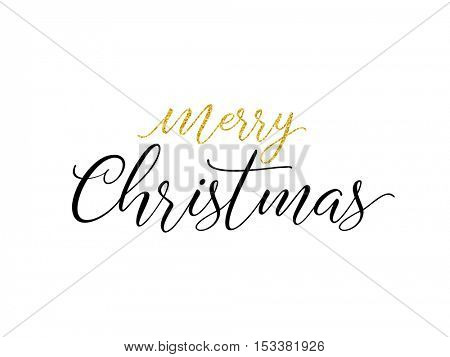 Merry Christmas greeting card. Typographic vector design, golden glitter lettering.