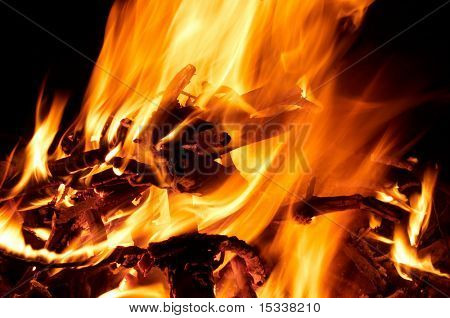 Fire and flames on a black