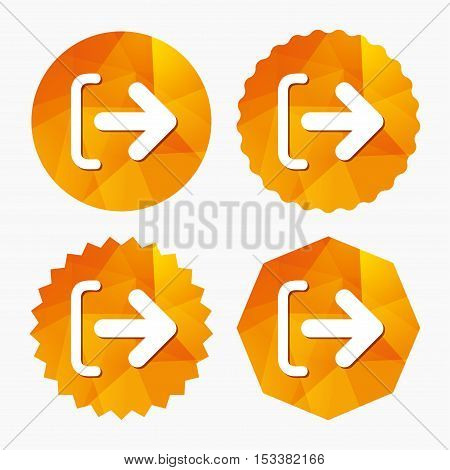 Logout sign icon. Sign out symbol. Arrow icon. Triangular low poly buttons with flat icon. Vector