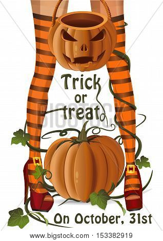 Halloween design. Closeup sexy witch legs on a background of pumpkin. Jack-o'-lantern bag for candy on Halloween. Trick or treat. Colorful illustration for Halloween