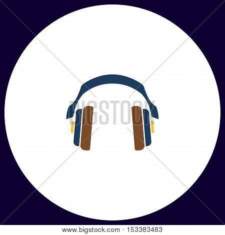Headphones Simple vector button. Illustration symbol. Color flat icon